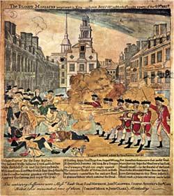Photo of Paul Revere's depiction of the Boston Massacre