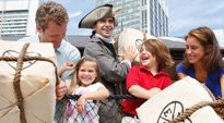 Image of Family Reenacting Boston Tea Party