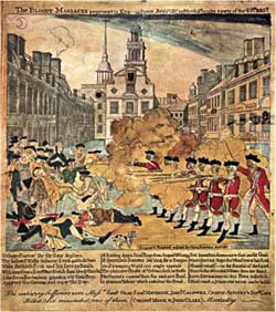 Photo of Paul Revere's inaccurate but politically compelling depiction of the Boston Massacre