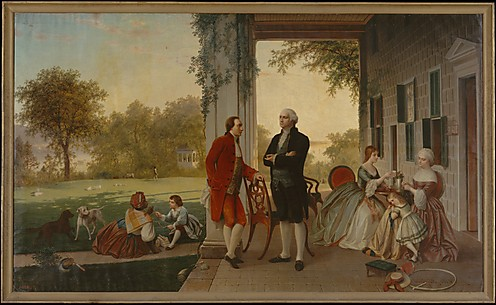 Washington and Lafayette take tea at Mt Vernon