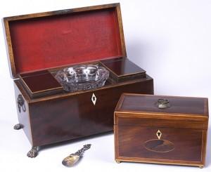 Regency Tea Caddy with Sugar Bowl