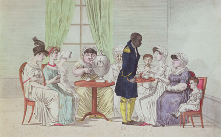 English Women Drinking Tea After Dinner coloured engraving by French School