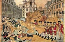 Paul Revere's inaccurate but politically compelling depiction of the Boston Massacre, March 1770, a prelude to the Boston Tea Party