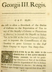 first edition of the tea act of 1773