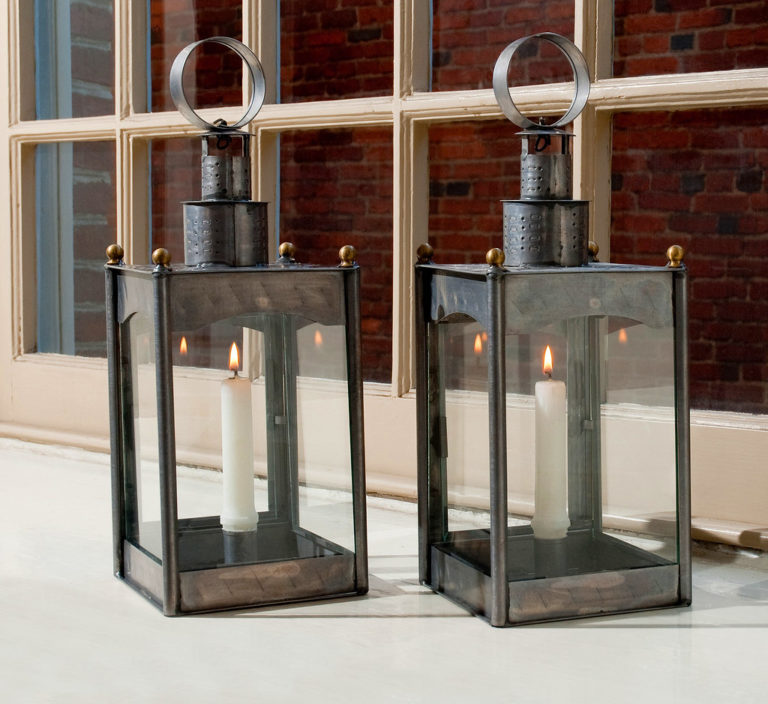 Two lanterns inside the Old North Church in Boston