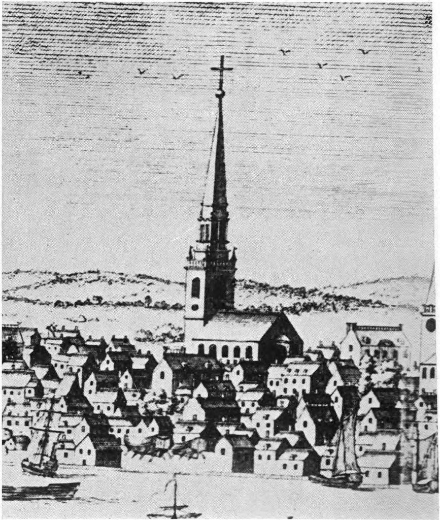 Old drawing of the Old North Church in Boston