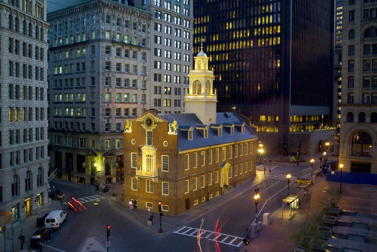Aerial view of the Old State House in Boston