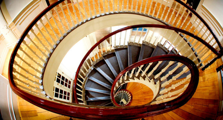 Spiral staircase inside the Old State House in Boston