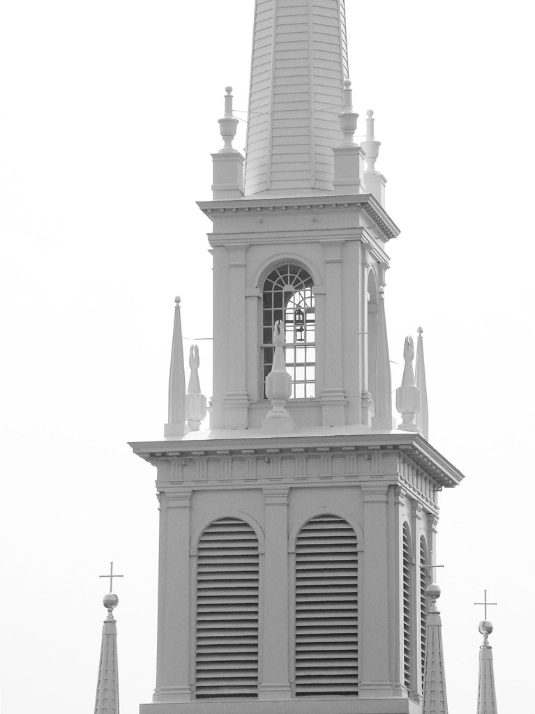 black and white photo of the Old North Church in Boston