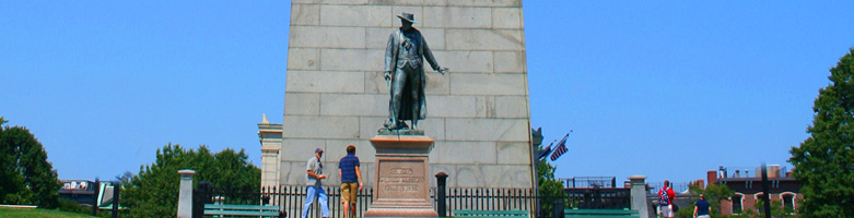 Part of the Bunker Hill Monument and statue of Col. William Prescott