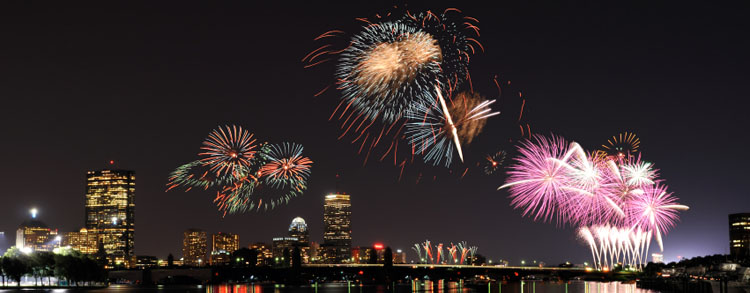 4th of July Fireworks Over The City of Boston