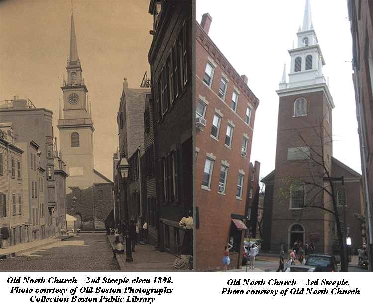 The steeples of the Old North Church, one from 1898 and the one that is visible today