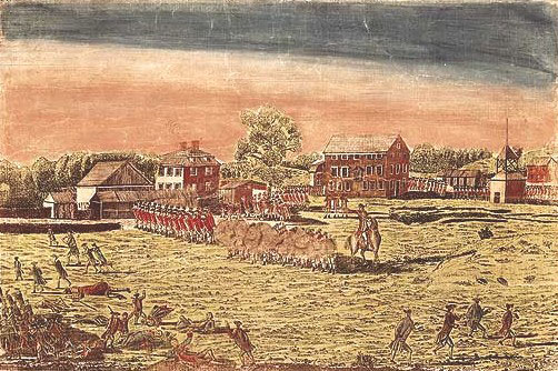 Engraving of Battle at Lexington Green by Amos Doolittle 1775