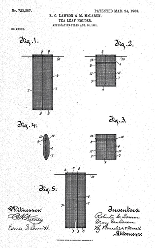 1903 patent for an open-mesh tea leaf holder invented by two Wisconsin women.