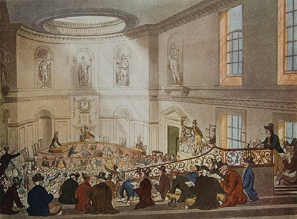 India House, The Sale Room, from 'Ackermann's Microcosm of London', engraved by Joseph Constantine Stadler (fl.1780-1812), 1808 (aquatint), Rowlandson, T. (1756-1827) & Pugin, A.C. (1762-1832) (after) / Private Collection / The Stapleton Collection / The Bridgeman Art Library