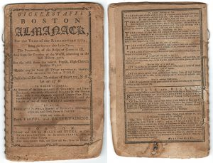 Front and back covers of Bickerstaff's Almanack for the Year of our Redemption 1774