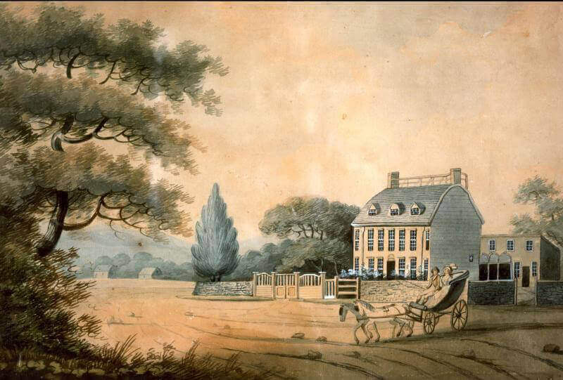 Watercolor painting of The Adams Home in Quincy, MA