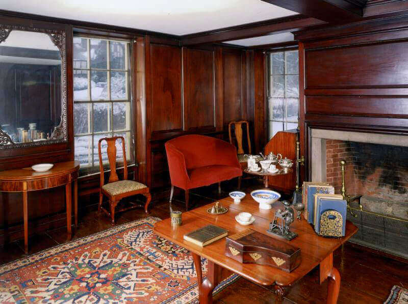 The Adams family parlor in Quincy boasts a tea table with tea service.