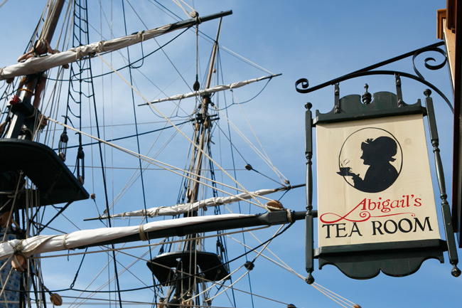 outdoor sign for abigails tea room