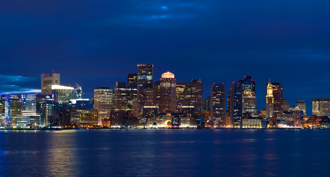skyline of boston at night