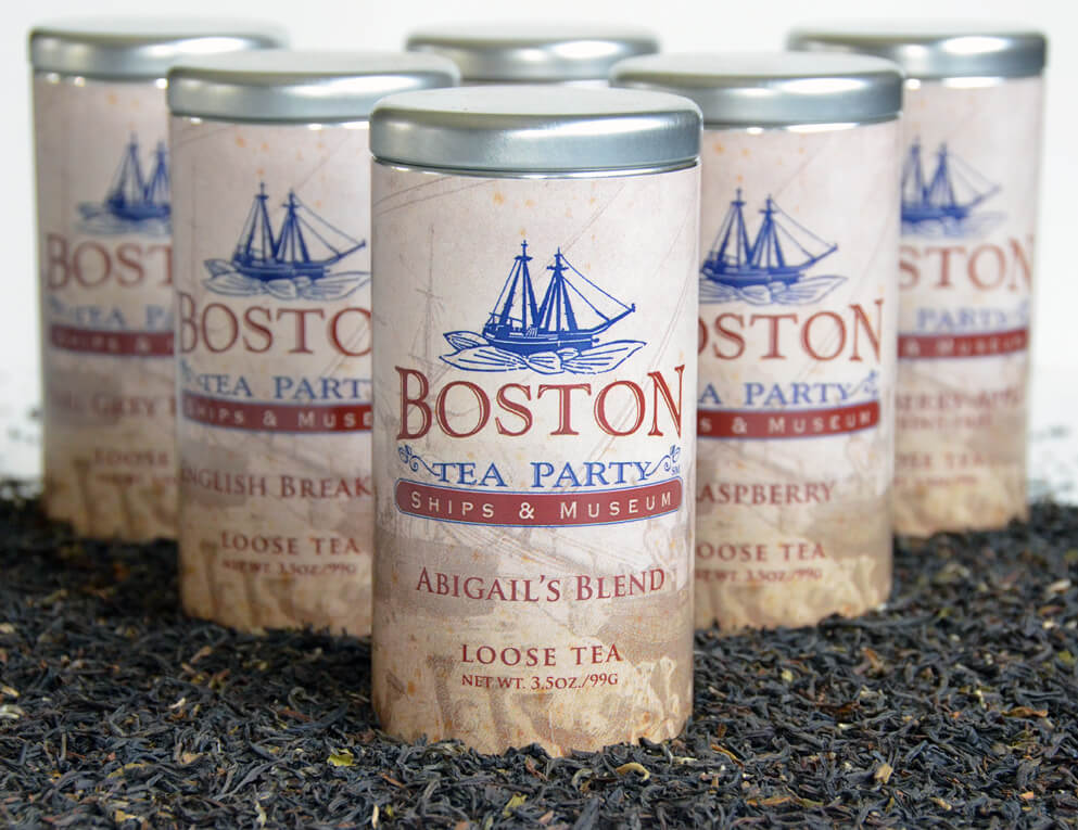 Cans of Boston Tea Party Abigails Blend of Tea