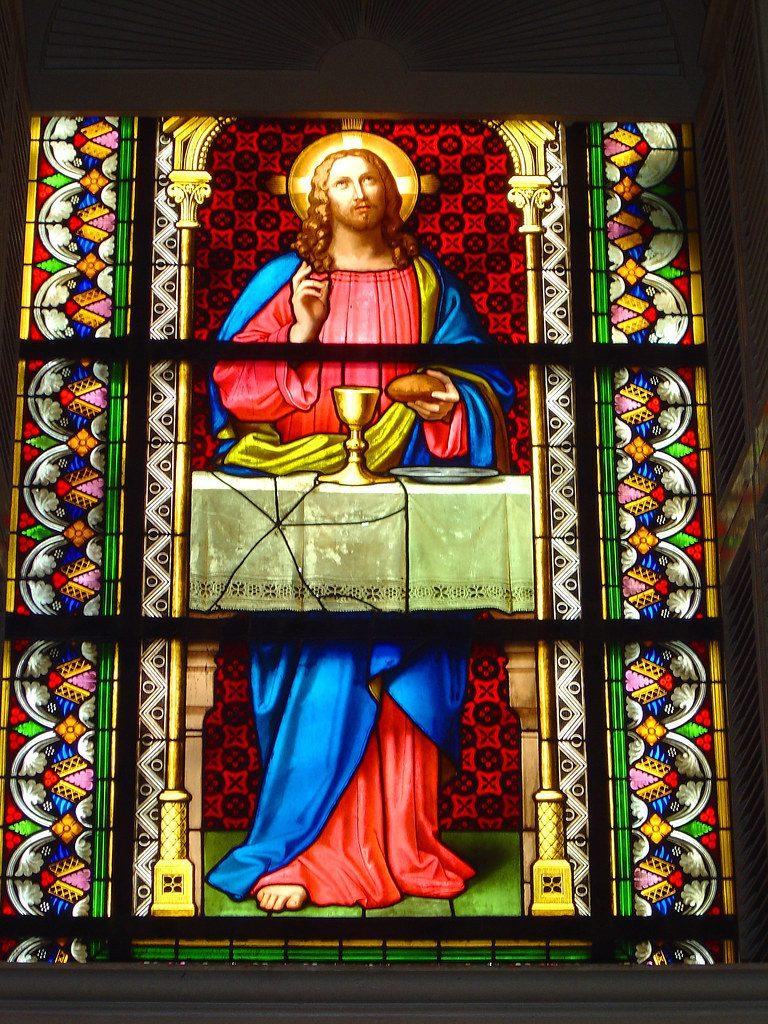 Stained glass inside Kings Chapel in Boston