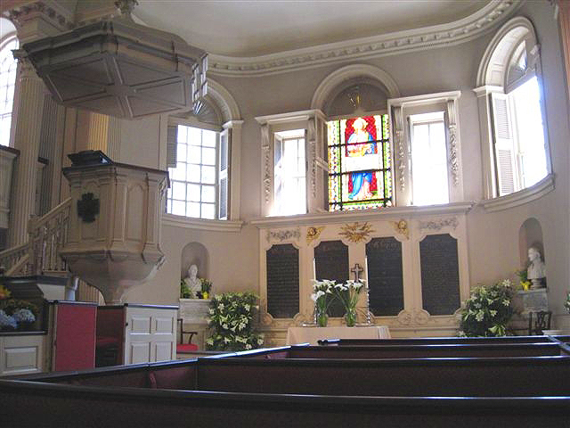 Side view of the altar in Kings Chapel in Boston