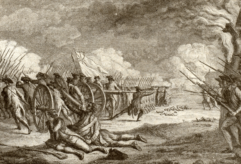 Engraving of the Battle of Lexington. April 19, 1775. New York Public Library.