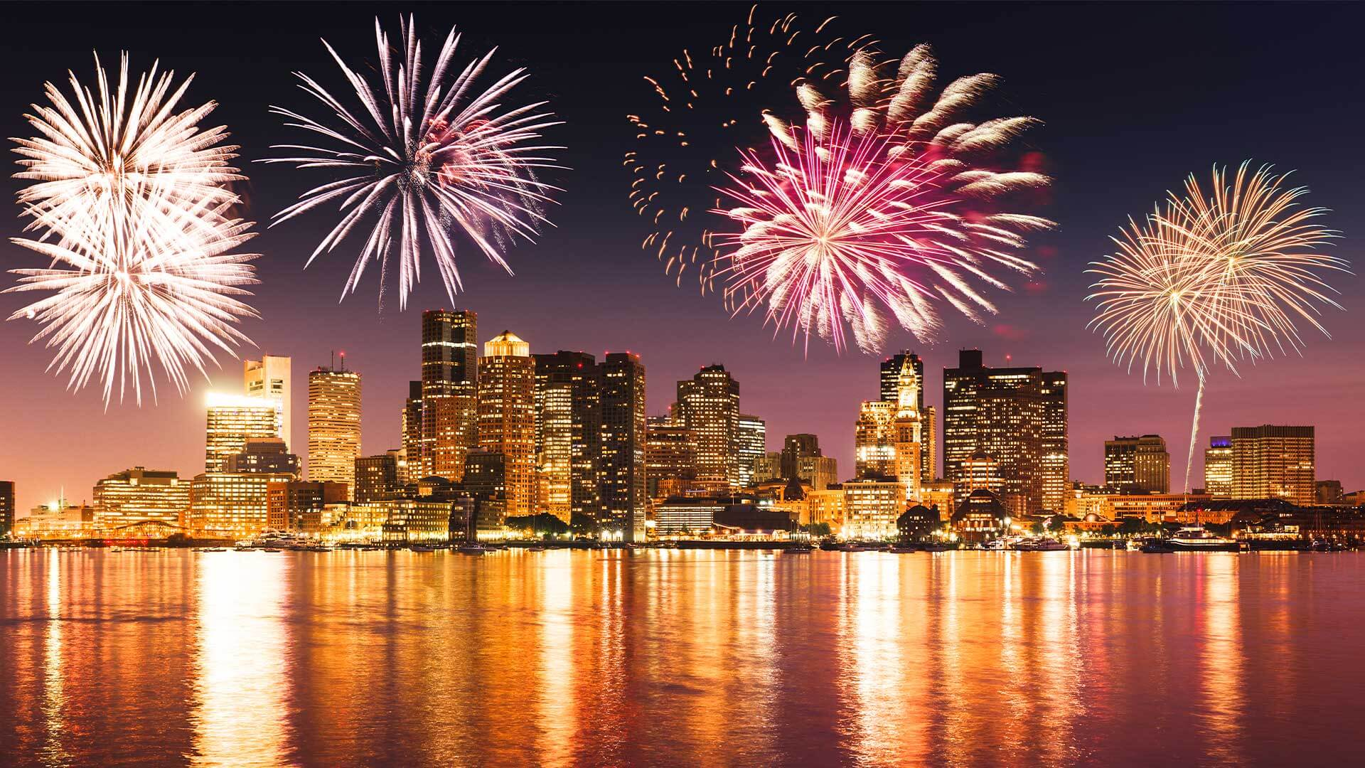 Fourth of July fireworks over the Boston Skyline