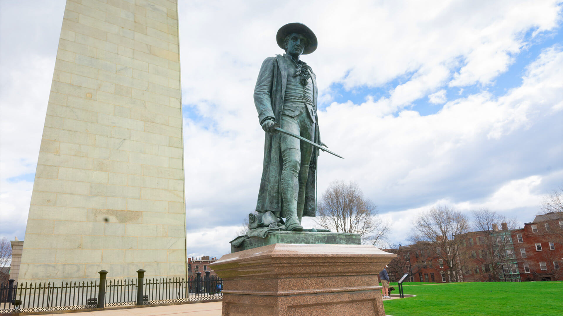 Statue of Col. William Prescott in Bunker Hill Monument in Boston