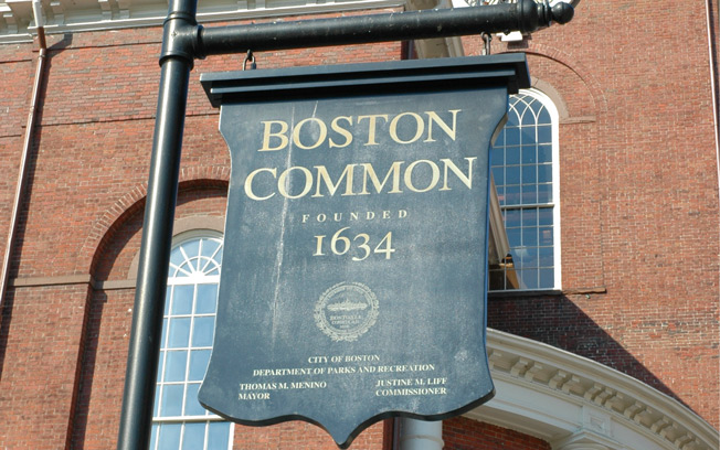 Boston Common Founded 1634 sign