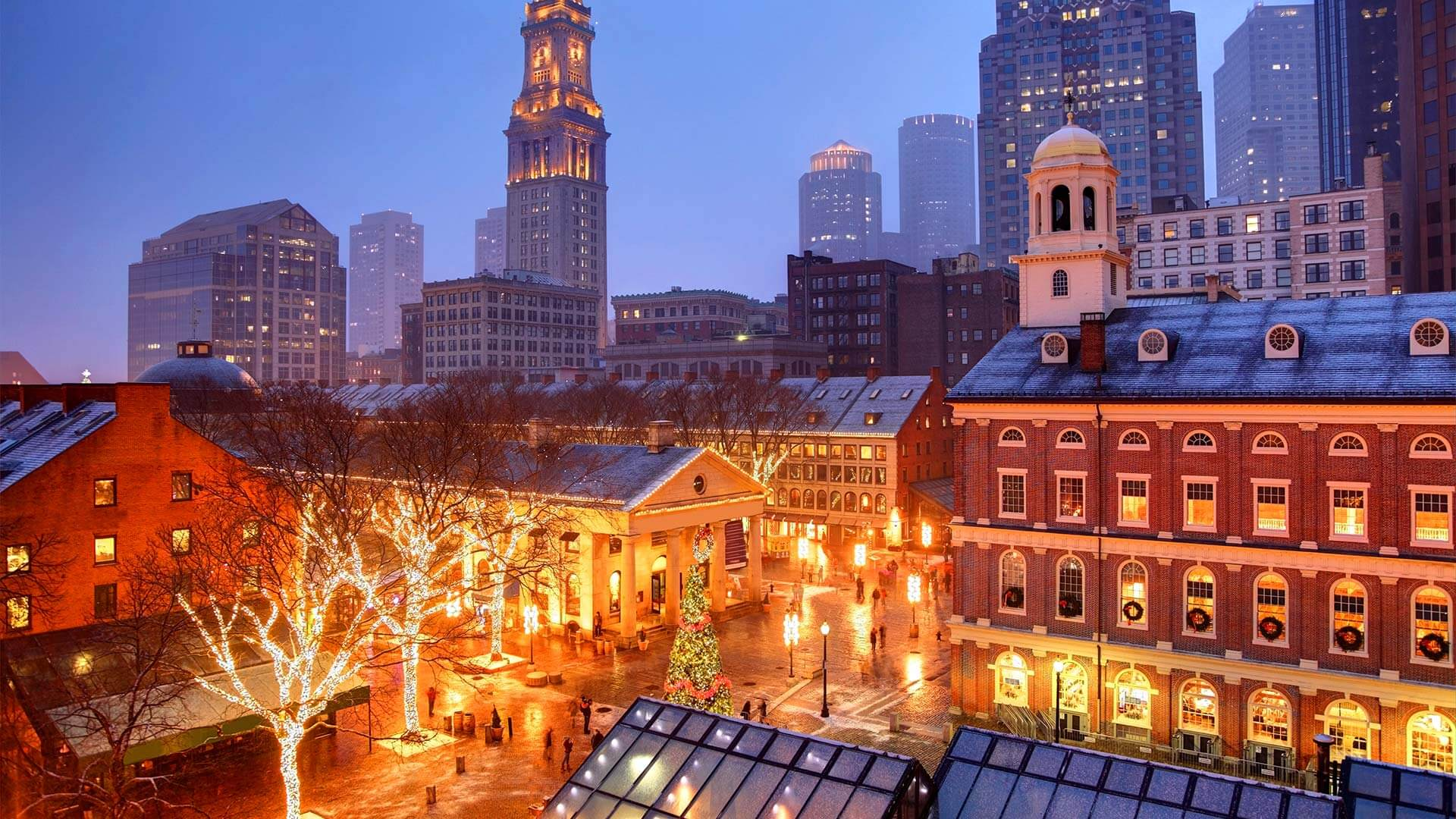 Quincy Market in Boston during the holidays
