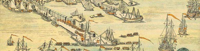 Engraving of the Boston Harbor