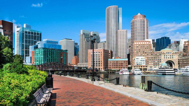 Boston Harborwalk on a sunny day in Boston