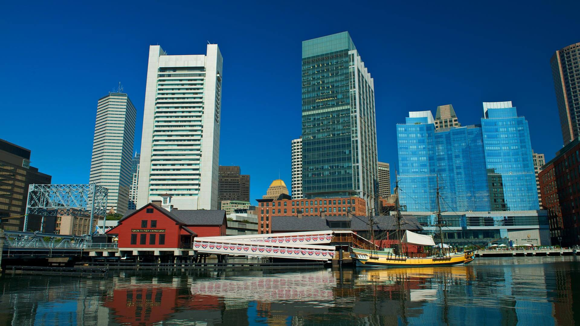 Boston Tea Party Ships Museum's view from the water