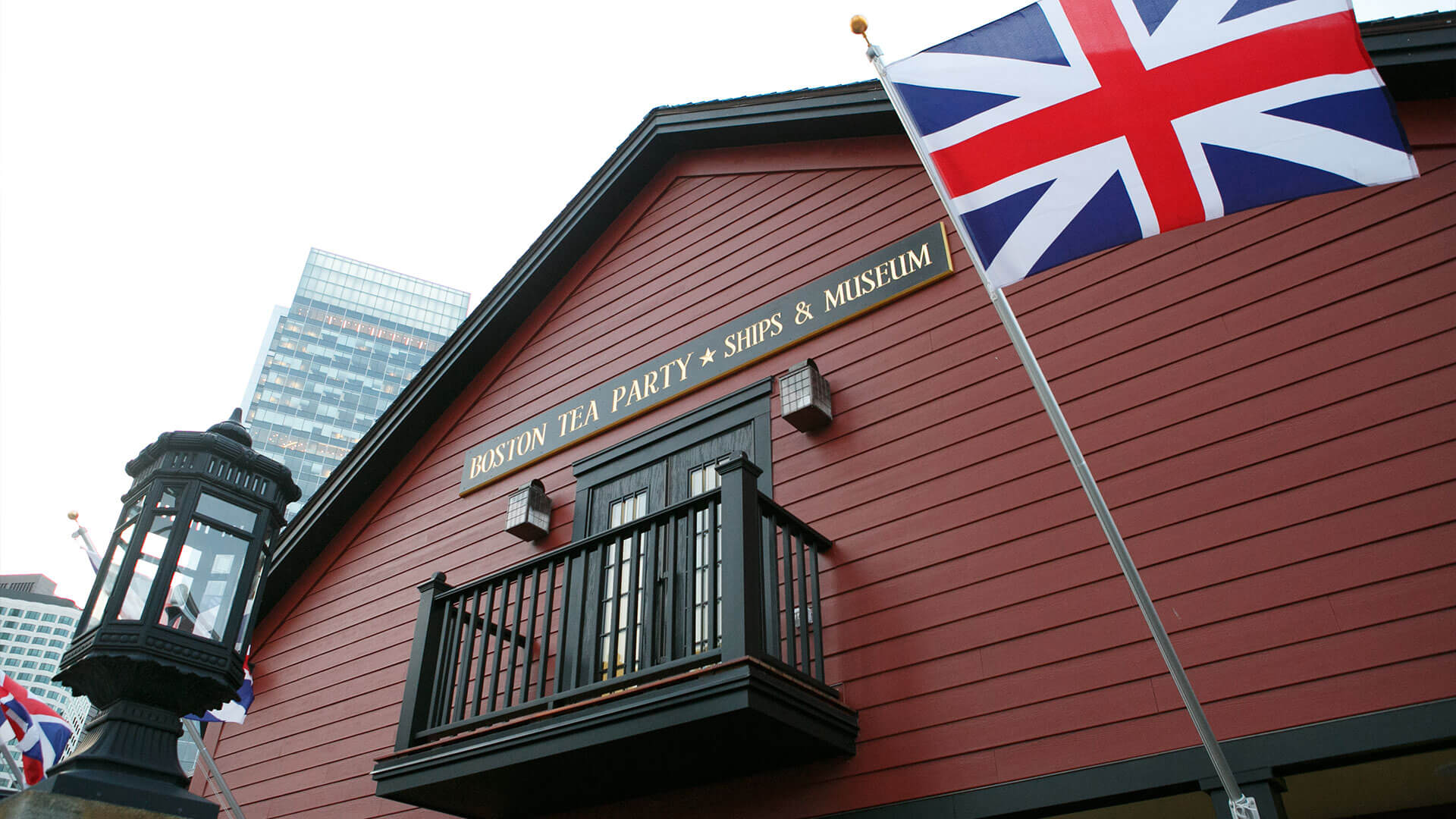 Boston Tea Party Ships Museum balcony with flag