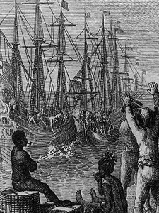 Bostonians throwing tea into the Boston Harbor