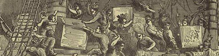 Bostonians destroying tea crates