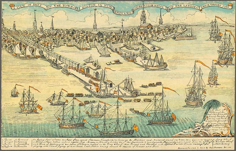 Engraving of the Boston Harbor