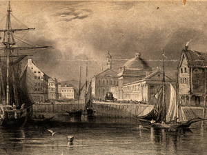 Faneuil Hall, from the water. Dick, Archibald L., ca. 1805-ca. 1855 (engraver). Boston Public Library.