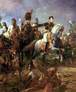 Portrait of Napoleon on a horse in Battle