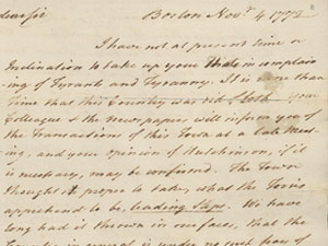 Excerpt of a letter form Samuel Adams
