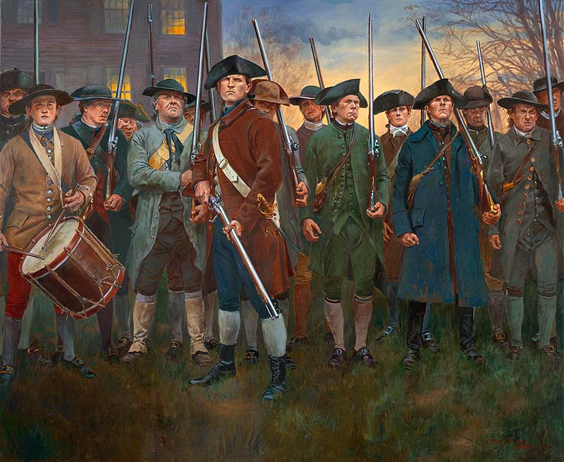 Lexington Common, 19th of April 1775. Painting by Don Troiani