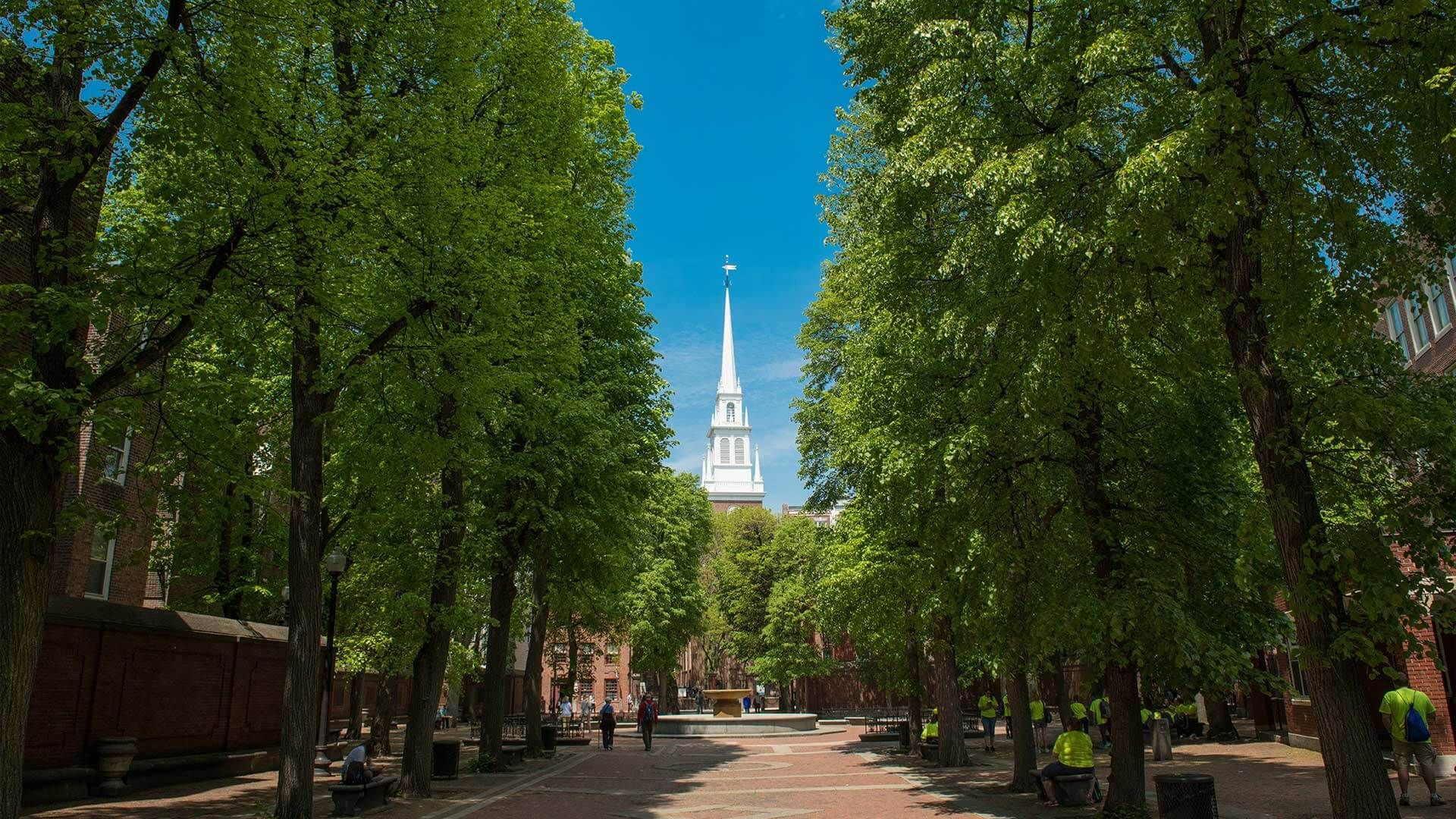 View of the Old North Church in the North End in Boston
