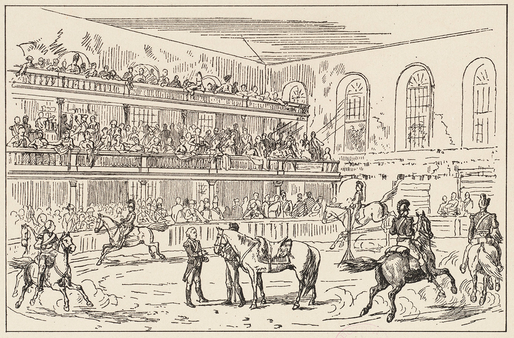 Old drawing of the inside of the Old South Meeting House in Boston