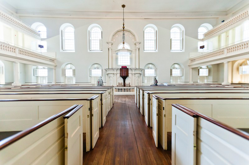 Inside the Old South Meeting House in Boston