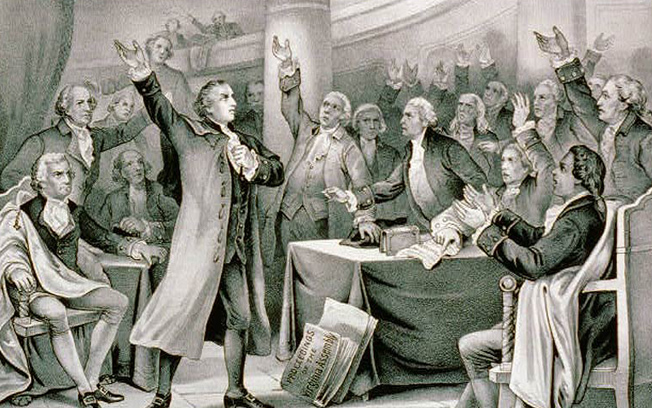 Patrick Henry giving a speech in Liberty Hall