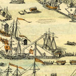 A view of the Town of Boston in New England and British ships of war landing their troops, 1768. Boston Public Library.