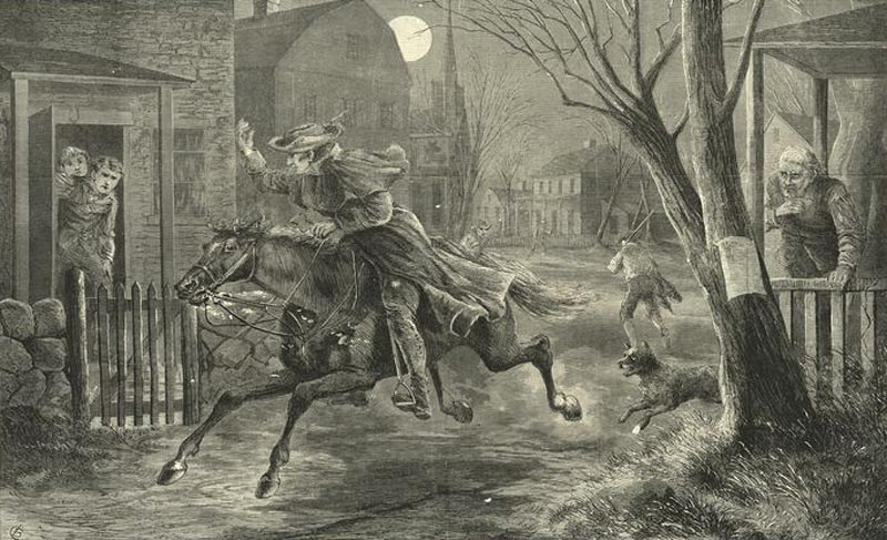 Painting of Paul Revere making his midnight ride