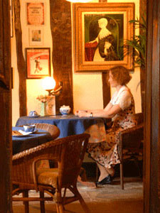 Woman sitting at Rockcottage Diner in Boston